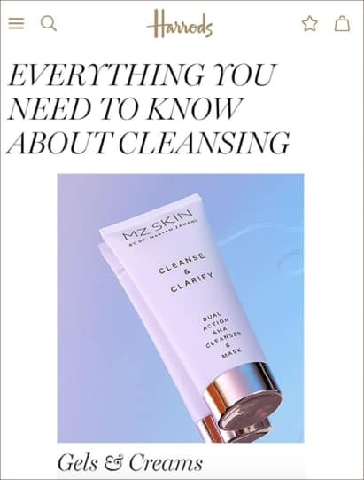MZ Skin Cleanse & Clarify featured in Harrods