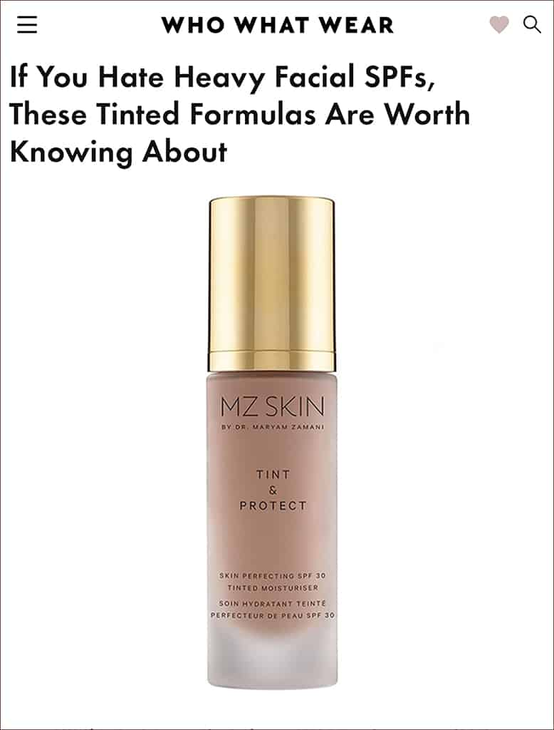 Who what wear features Tint & Protect