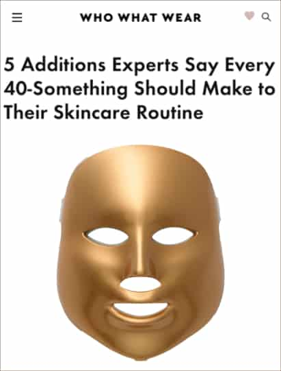 Who What Wear features MZ Skin LED Mask